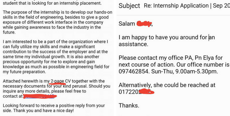 Kehebatan Ayat Permohonan Email Internship Calon Ini Buatkan Ceo